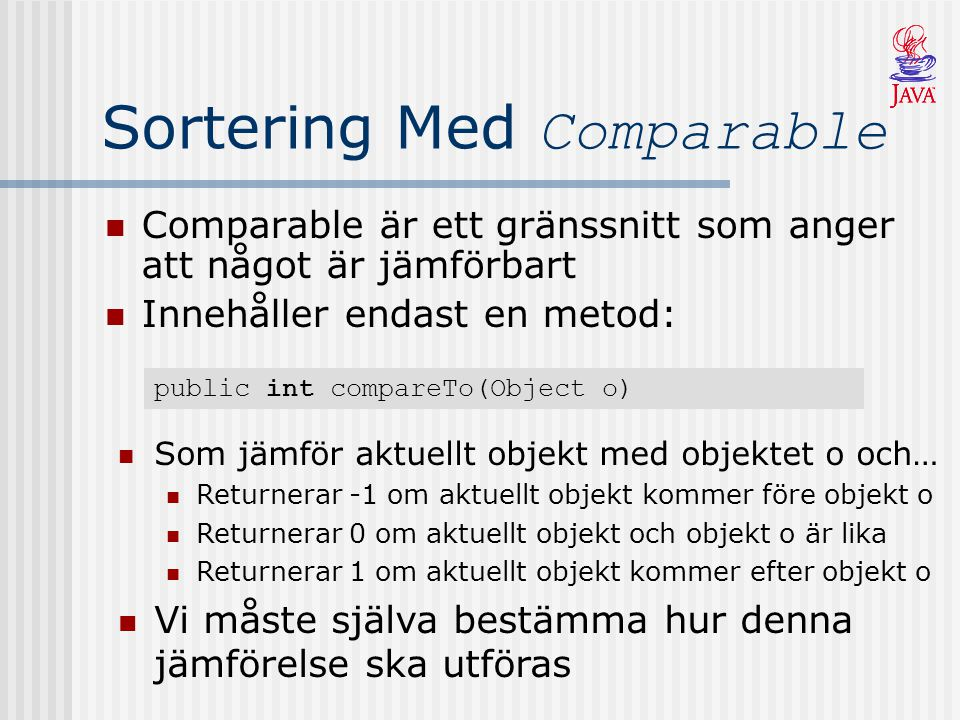 Sortering Med Comparable