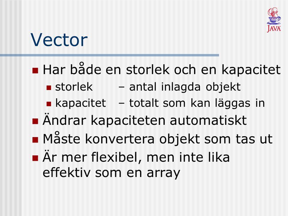 Vector Har både en storlek och en kapacitet