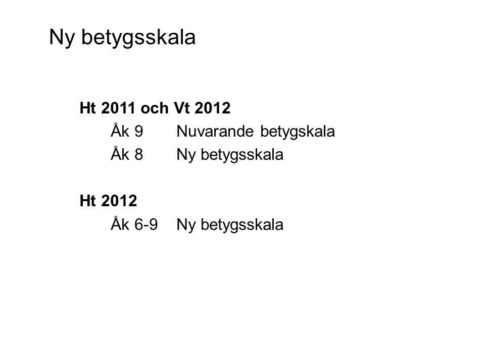 Ny betygsskala Ht 2011 och Vt 2012 Åk 9 Nuvarande betygskala