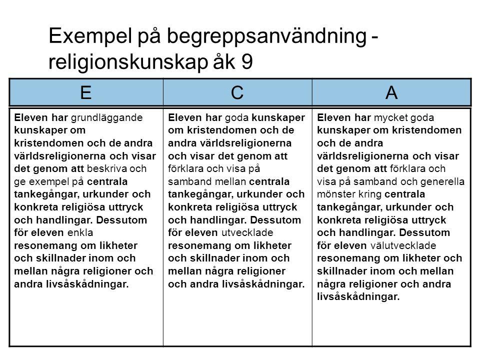Exempel på begreppsanvändning - religionskunskap åk 9