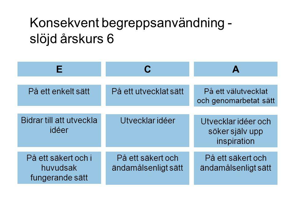 Konsekvent begreppsanvändning - slöjd årskurs 6