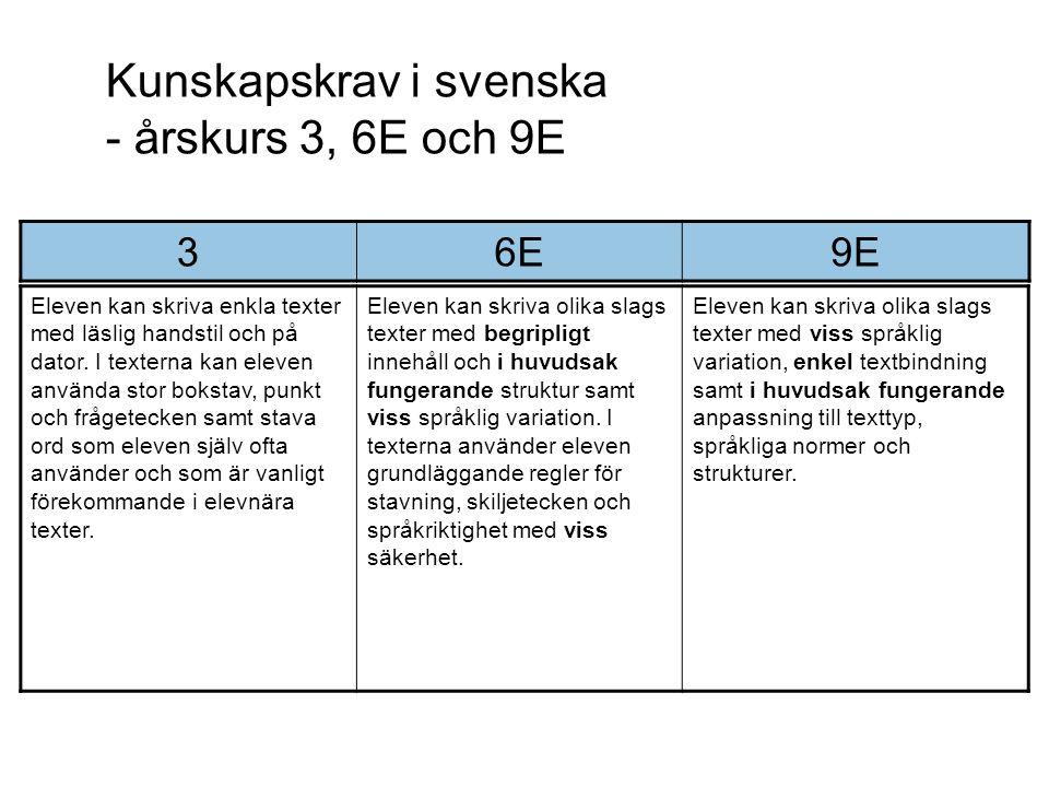 Kunskapskrav i svenska - årskurs 3, 6E och 9E