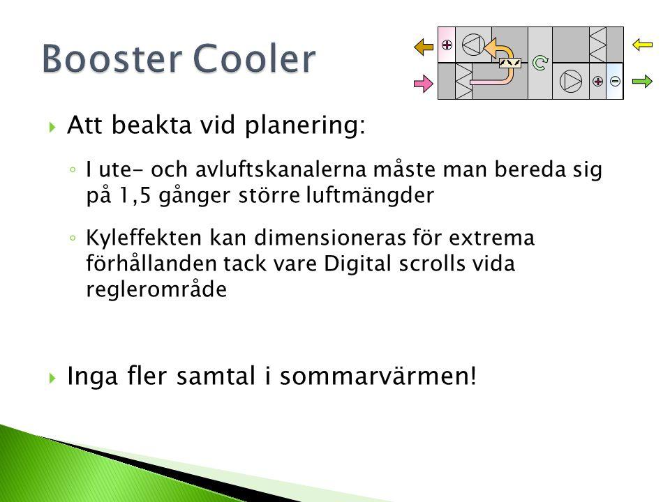 Booster Cooler Att beakta vid planering: