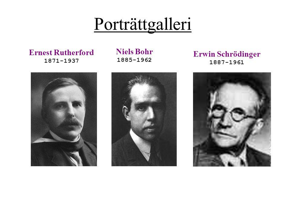 Porträttgalleri Ernest Rutherford Niels Bohr Erwin Schrödinger
