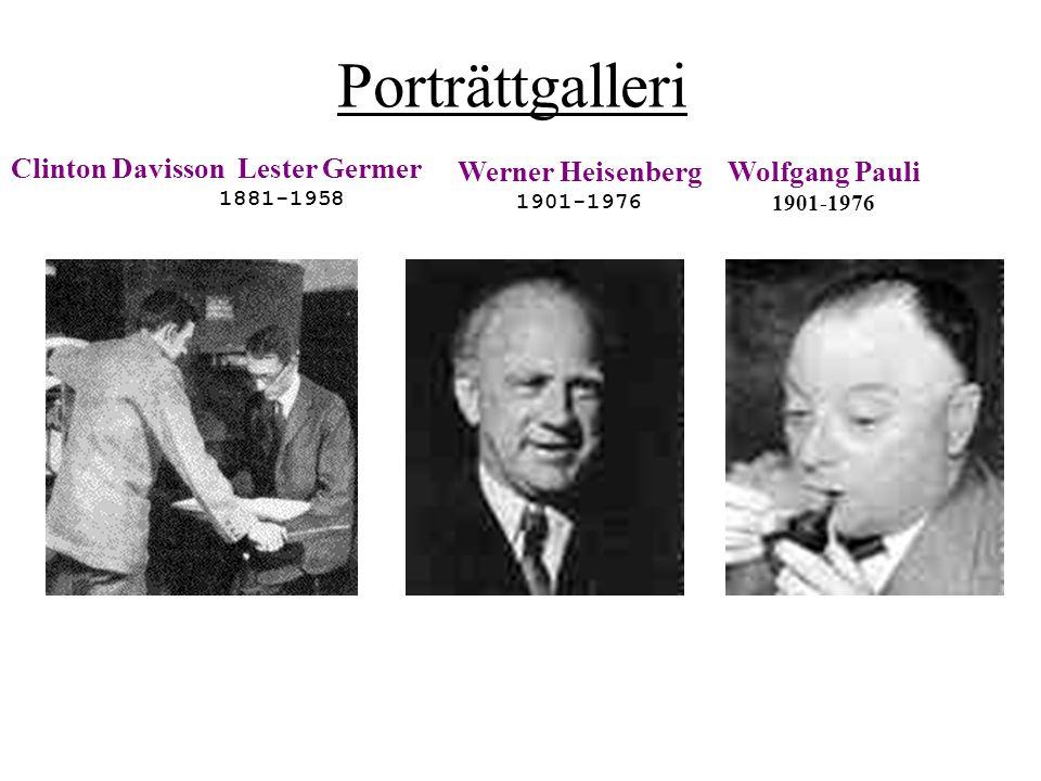 Porträttgalleri Clinton Davisson Lester Germer Werner Heisenberg