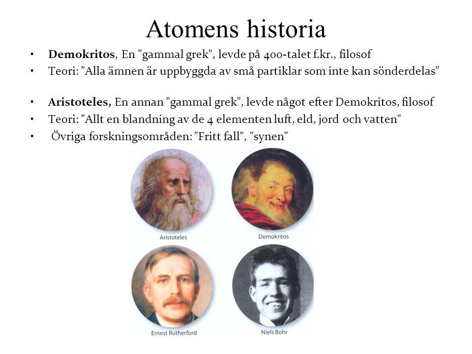 Atomens historia Demokritos, En gammal grek , levde på 400-talet f.kr., filosof.