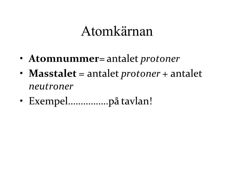 Atomkärnan Atomnummer= antalet protoner