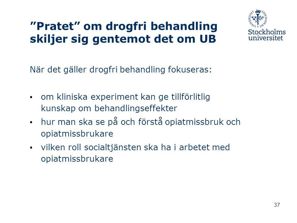 Pratet om drogfri behandling skiljer sig gentemot det om UB