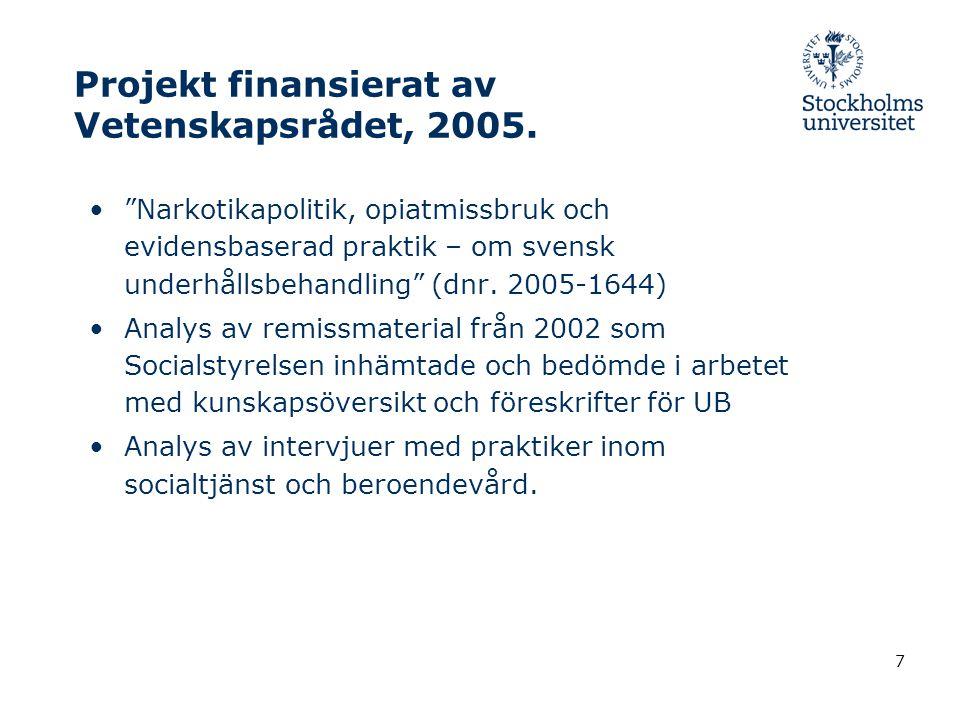 Projekt finansierat av Vetenskapsrådet, 2005.