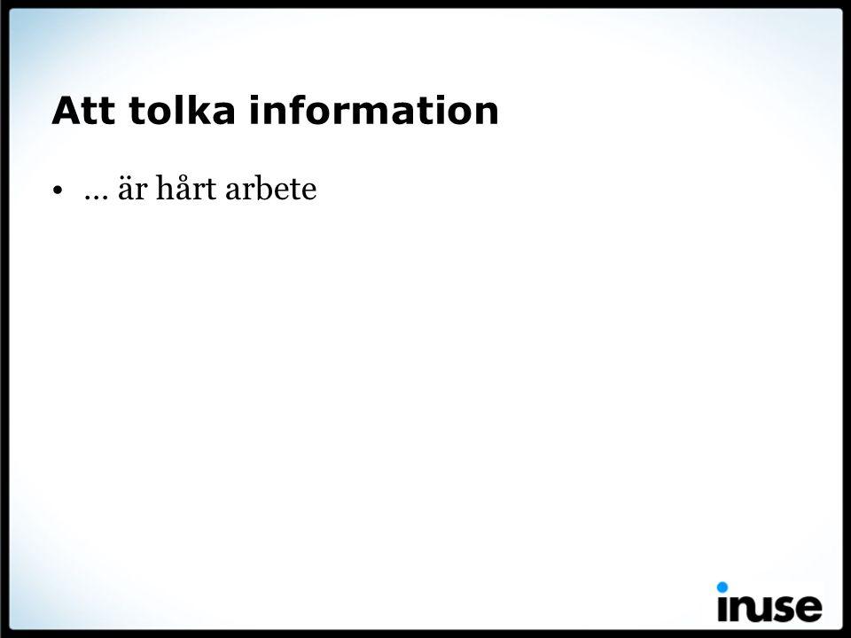 Att tolka information … är hårt arbete