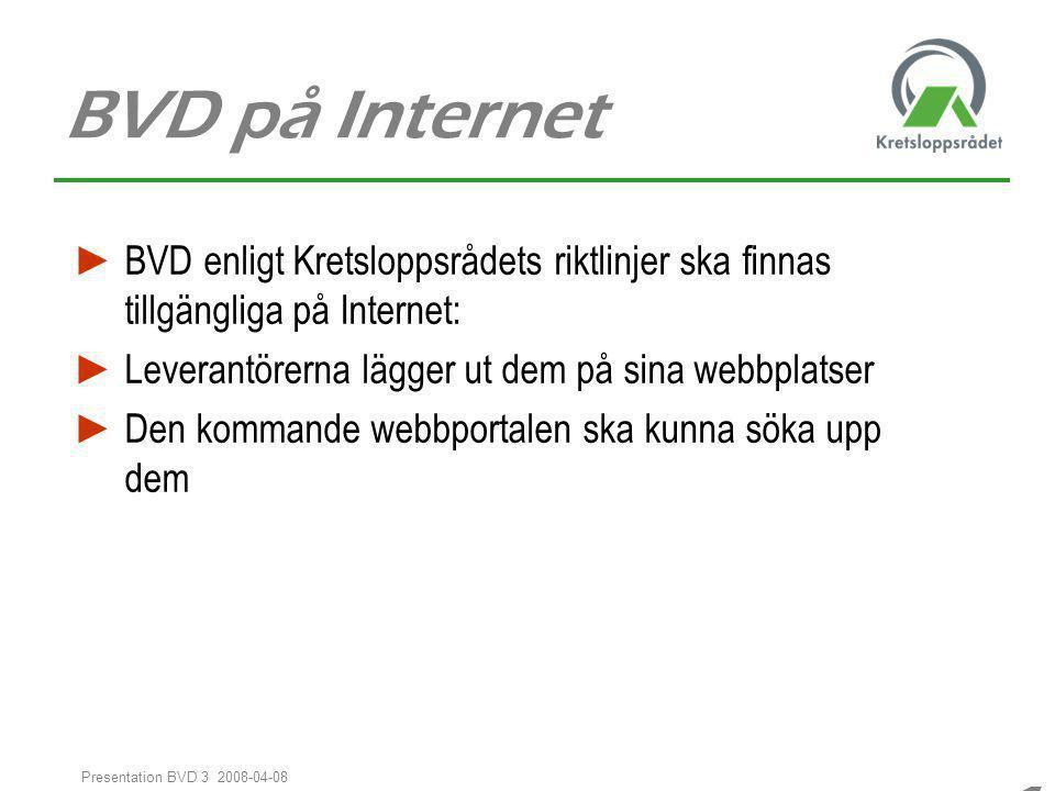 BVD på Internet BVD enligt Kretsloppsrådets riktlinjer ska finnas tillgängliga på Internet: Leverantörerna lägger ut dem på sina webbplatser.