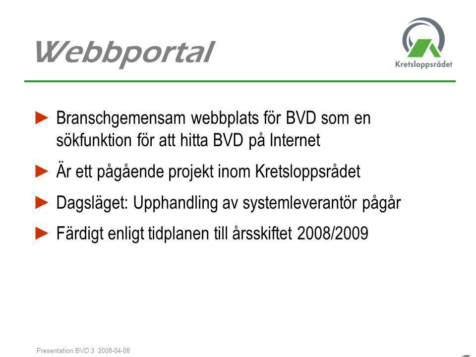 Webbportal Branschgemensam webbplats för BVD som en sökfunktion för att hitta BVD på Internet. Är ett pågående projekt inom Kretsloppsrådet.