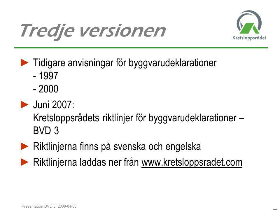 Tredje versionen Tidigare anvisningar för byggvarudeklarationer - 1997 - 2000.