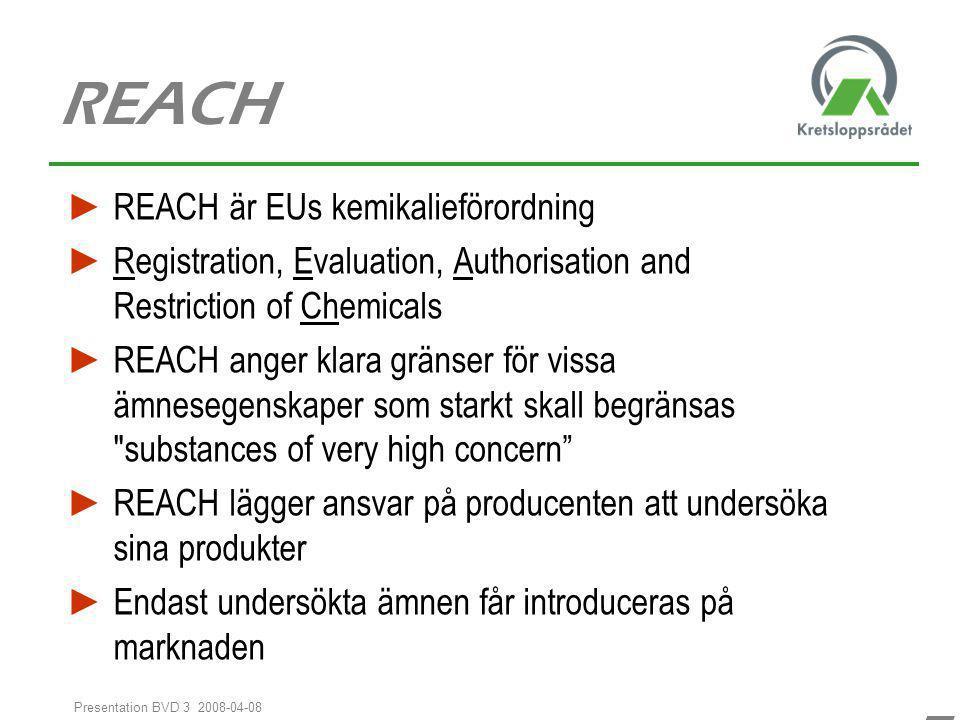 REACH REACH är EUs kemikalieförordning