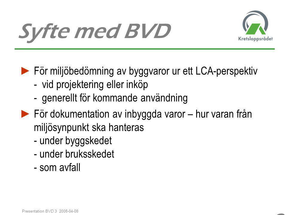 Syfte med BVD För miljöbedömning av byggvaror ur ett LCA-perspektiv - vid projektering eller inköp - generellt för kommande användning.