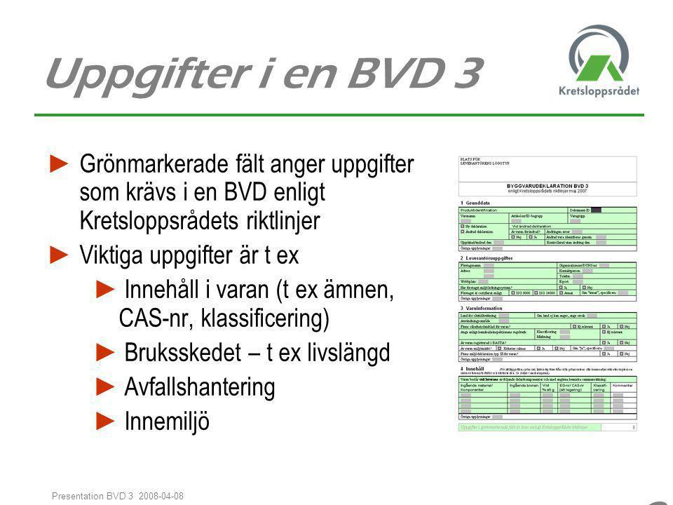 Uppgifter i en BVD 3 Grönmarkerade fält anger uppgifter som krävs i en BVD enligt Kretsloppsrådets riktlinjer.