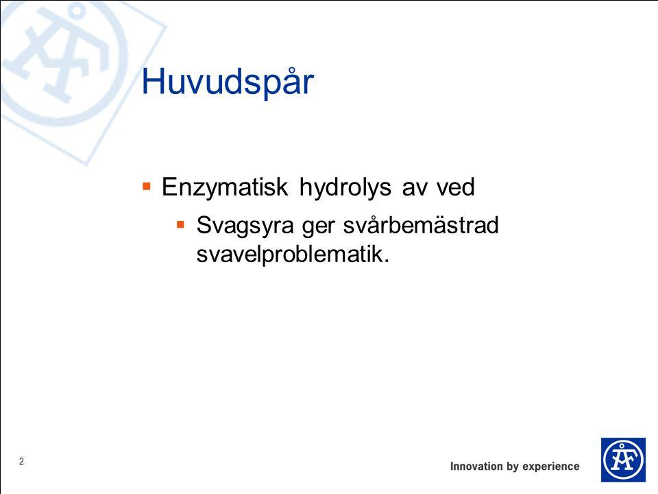Huvudspår Enzymatisk hydrolys av ved