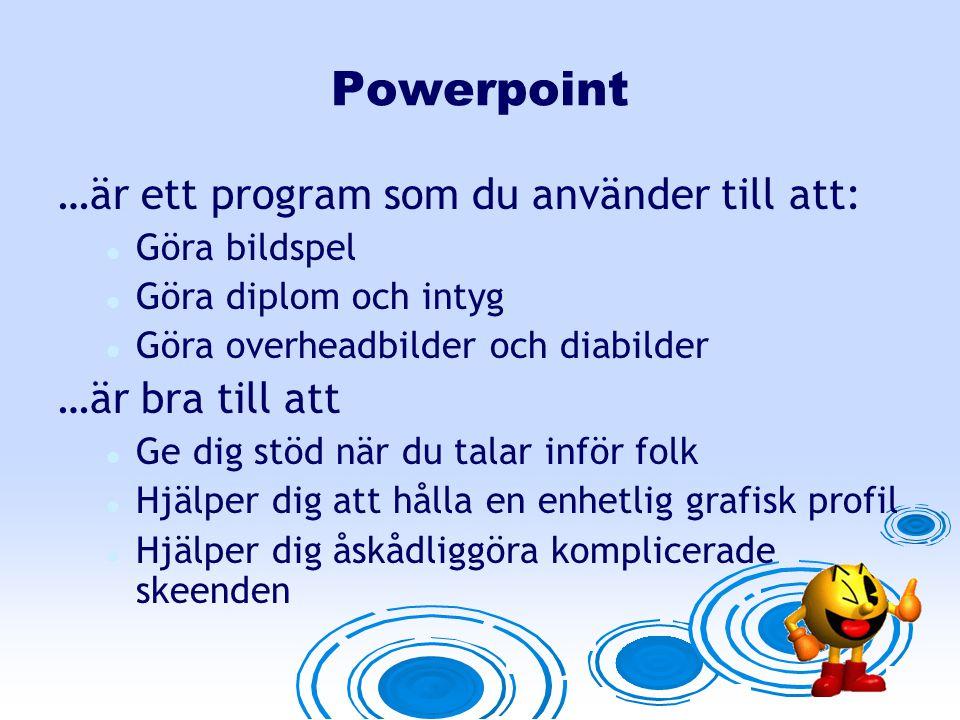 Powerpoint …är ett program som du använder till att: …är bra till att
