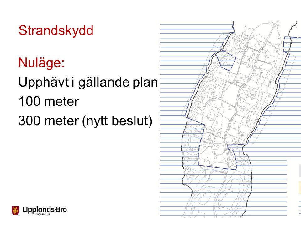 Strandskydd Nuläge: Upphävt i gällande plan 100 meter 300 meter (nytt beslut)