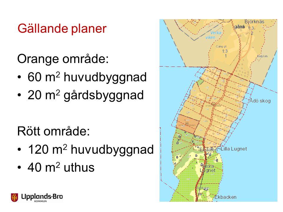 Gällande planer Orange område: 60 m2 huvudbyggnad. 20 m2 gårdsbyggnad. Rött område: 120 m2 huvudbyggnad.