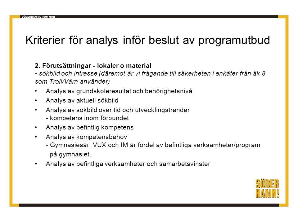 Kriterier för analys inför beslut av programutbud