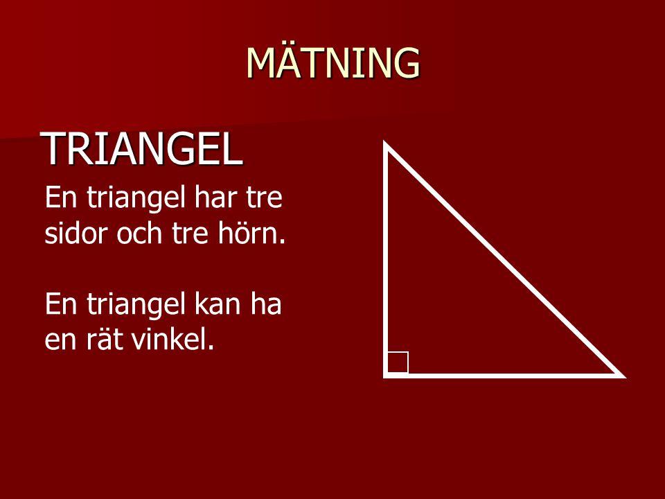 TRIANGEL MÄTNING En triangel har tre sidor och tre hörn.