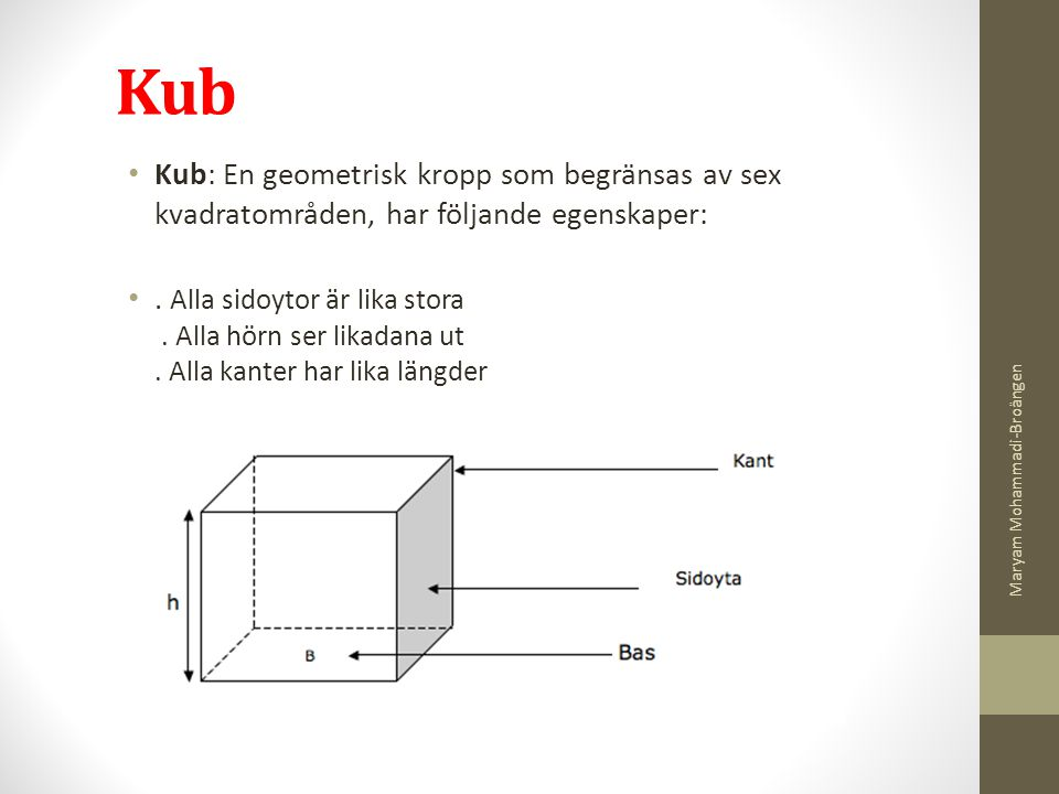 Kub Kub: En geometrisk kropp som begränsas av sex kvadratområden, har följande egenskaper:
