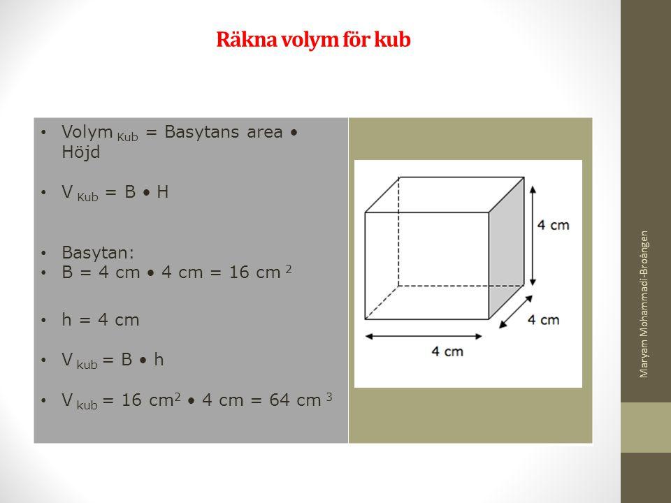 Räkna volym för kub Volym Kub = Basytans area • Höjd V Kub = B • H