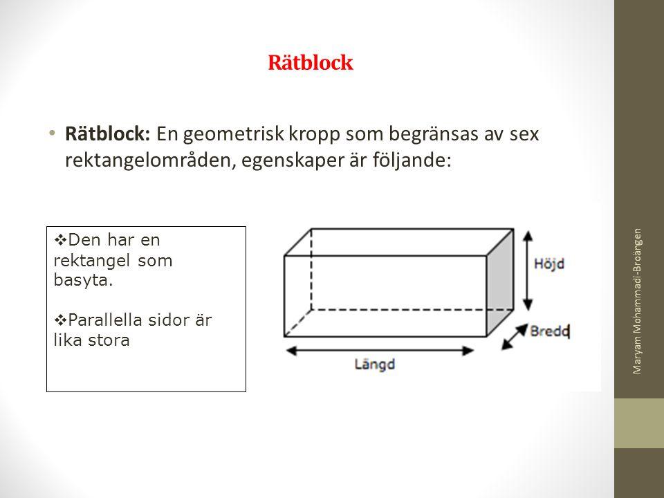 Rätblock Rätblock: En geometrisk kropp som begränsas av sex rektangelområden, egenskaper är följande: