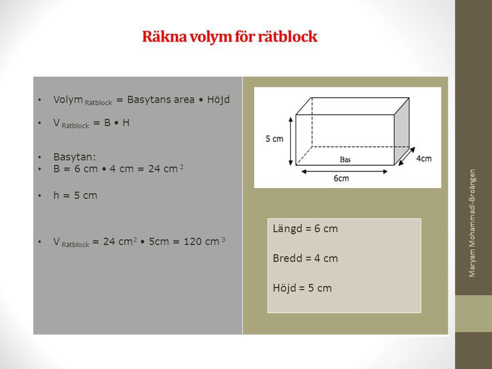 Räkna volym för rätblock