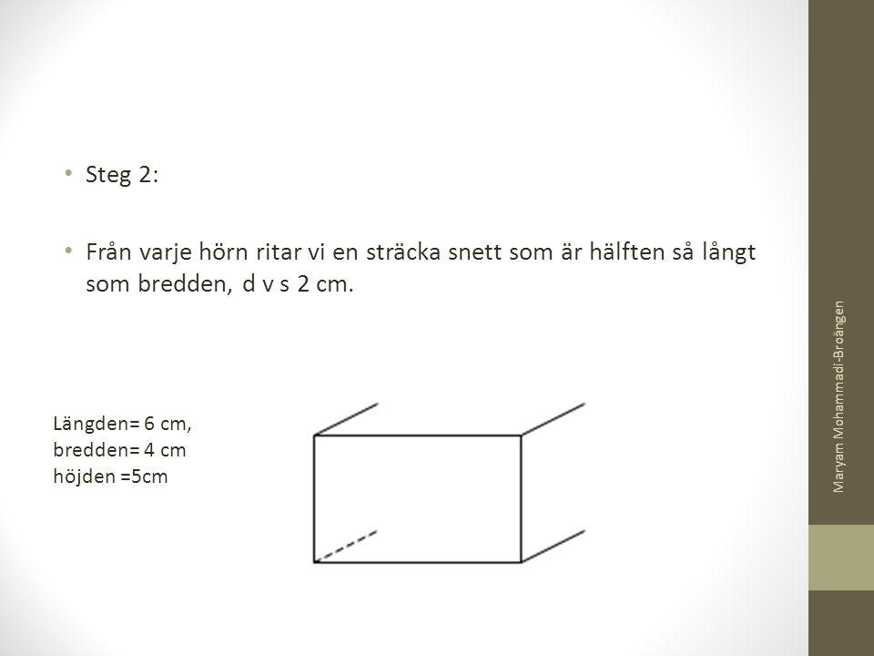 Steg 2: Från varje hörn ritar vi en sträcka snett som är hälften så långt som bredden, d v s 2 cm. Maryam Mohammadi-Broängen.