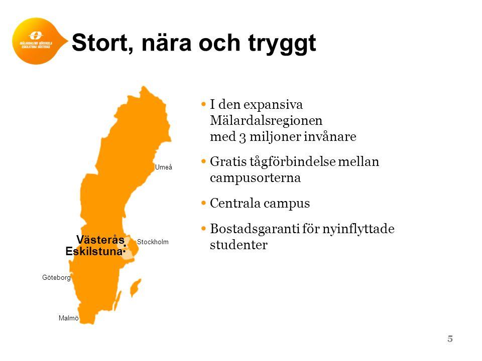 Stort, nära och tryggt Stockholm. Umeå. Göteborg. Malmö. Västerås. Eskilstuna. I den expansiva Mälardalsregionen med 3 miljoner invånare.