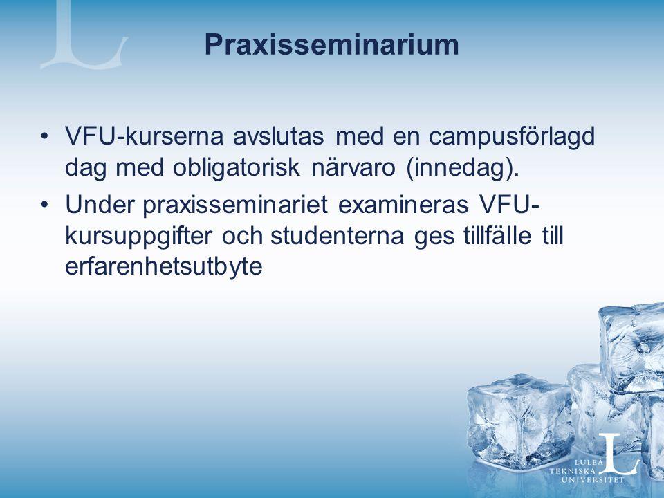 Praxisseminarium VFU-kurserna avslutas med en campusförlagd dag med obligatorisk närvaro (innedag).