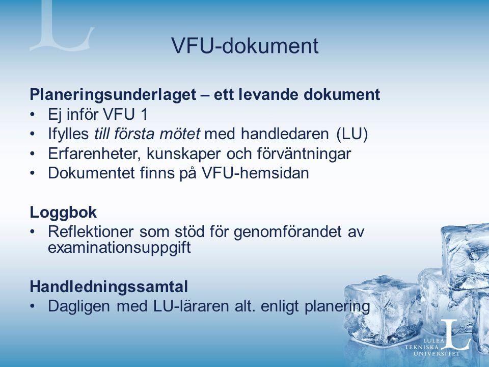 VFU-dokument Planeringsunderlaget – ett levande dokument