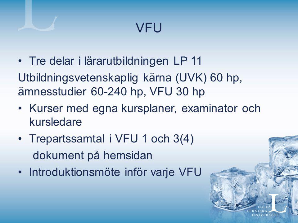VFU Tre delar i lärarutbildningen LP 11