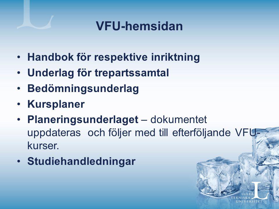 VFU-hemsidan Handbok för respektive inriktning