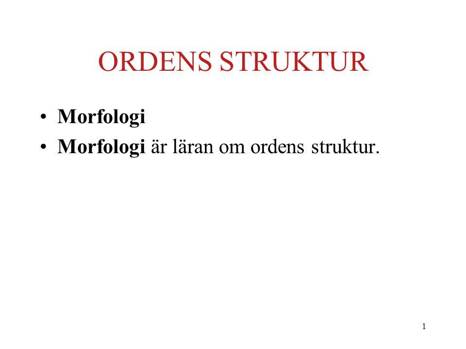 ORDENS STRUKTUR Morfologi Morfologi är läran om ordens struktur.