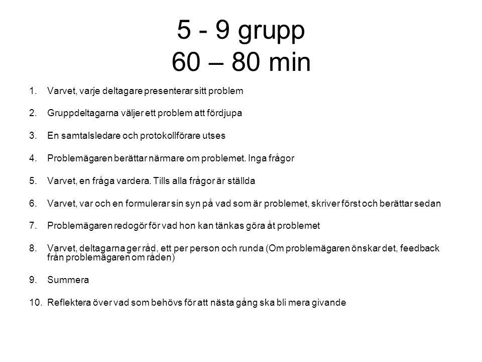 5 - 9 grupp 60 – 80 min Varvet, varje deltagare presenterar sitt problem. Gruppdeltagarna väljer ett problem att fördjupa.