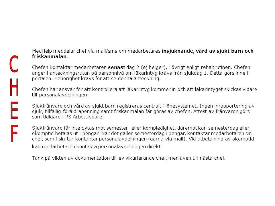 MedHelp meddelar chef via mail/sms om medarbetares insjuknande, vård av sjukt barn och friskanmälan.