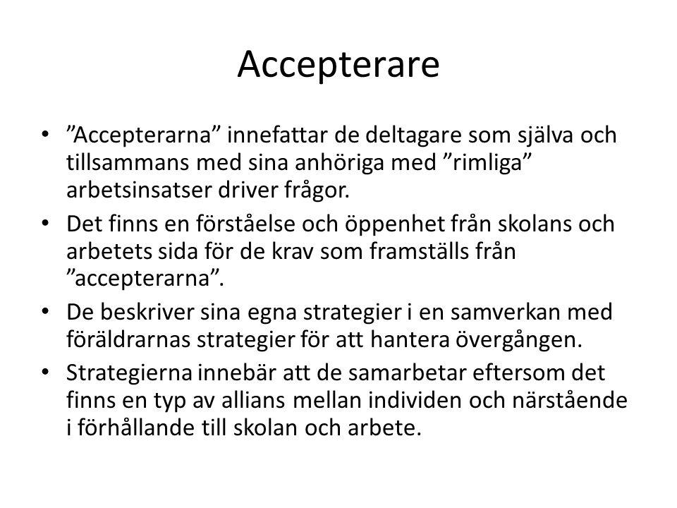 Accepterare Accepterarna innefattar de deltagare som själva och tillsammans med sina anhöriga med rimliga arbetsinsatser driver frågor.