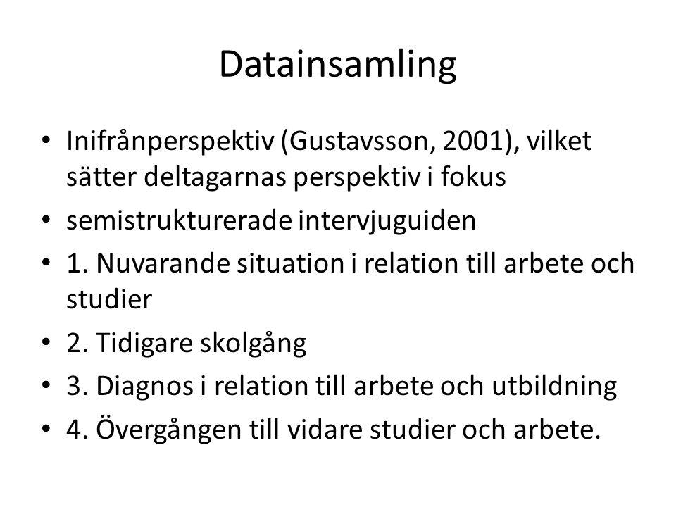 Datainsamling Inifrånperspektiv (Gustavsson, 2001), vilket sätter deltagarnas perspektiv i fokus. semistrukturerade intervjuguiden.