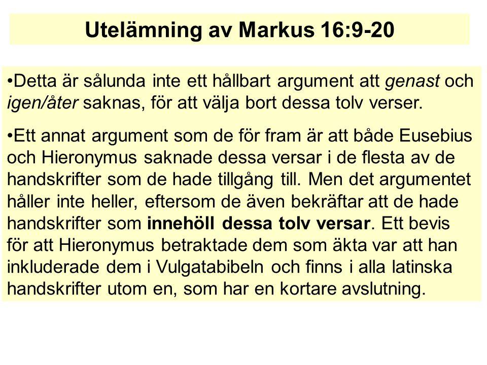 Utelämning av Markus 16:9-20