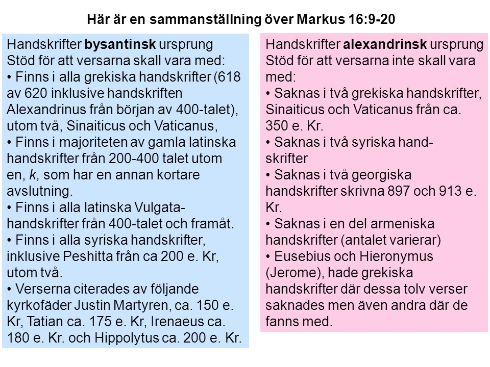 Här är en sammanställning över Markus 16:9-20