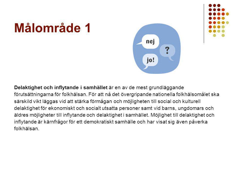 Målområde 1 Delaktighet och inflytande i samhället är en av de mest grundläggande.