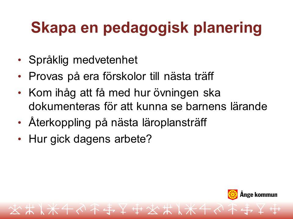 Skapa en pedagogisk planering