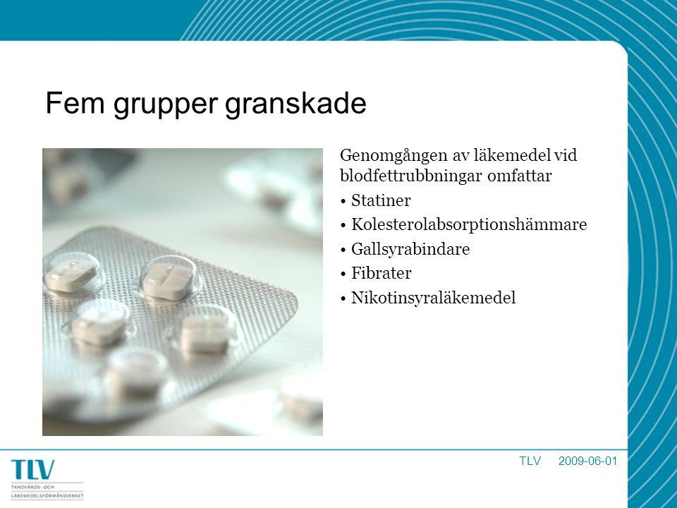 Fem grupper granskade Genomgången av läkemedel vid blodfettrubbningar omfattar. Statiner. Kolesterolabsorptionshämmare.