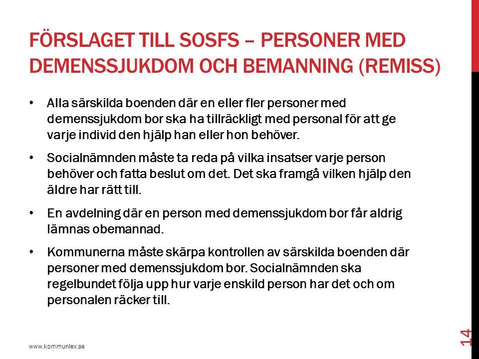 Förslaget till SOSFS – personer med demenssjukdom och bemanning (remiss)