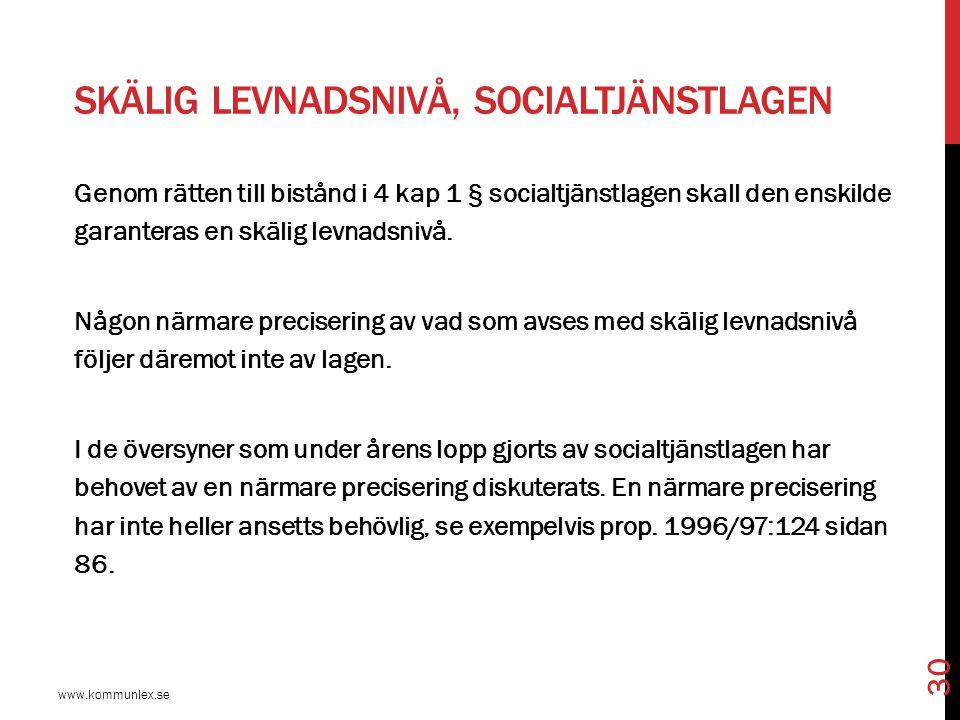 Skälig levnadsnivå, socialtjänstlagen