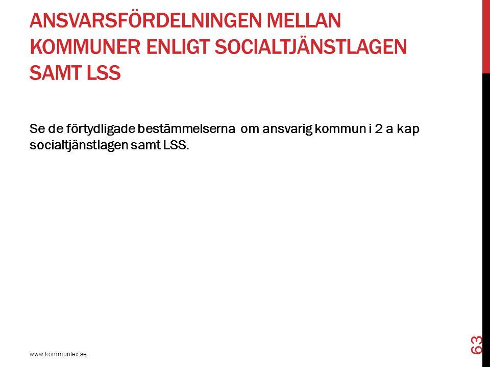 Ansvarsfördelningen mellan kommuner enligt socialtjänstlagen samt LSS