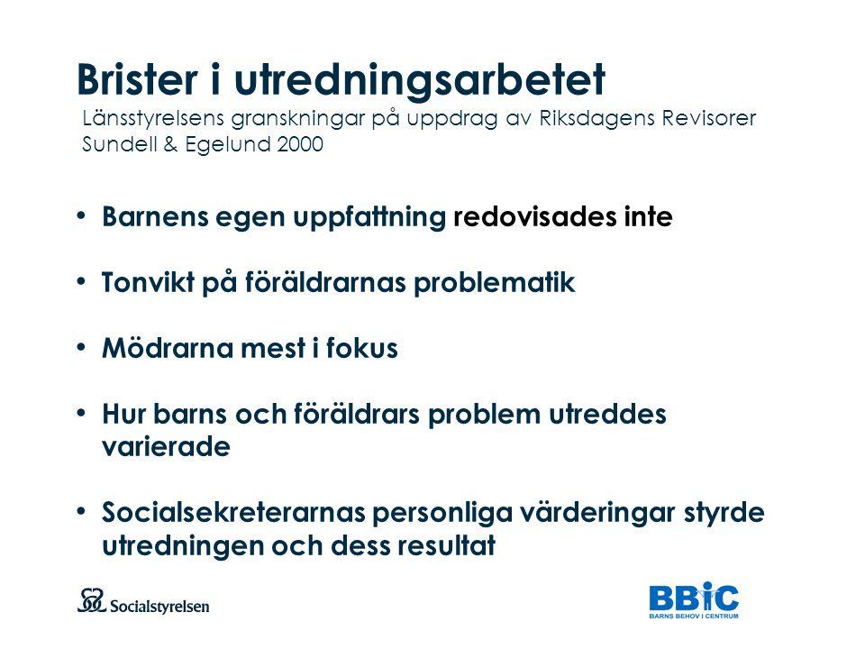 Brister i utredningsarbetet Länsstyrelsens granskningar på uppdrag av Riksdagens Revisorer Sundell & Egelund 2000